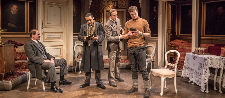 Danny Lee Wynter, Geoffrey Streatfeild, Emmet Byrne and Philip Bird in Cell Mates - Credit Marc Brenner
