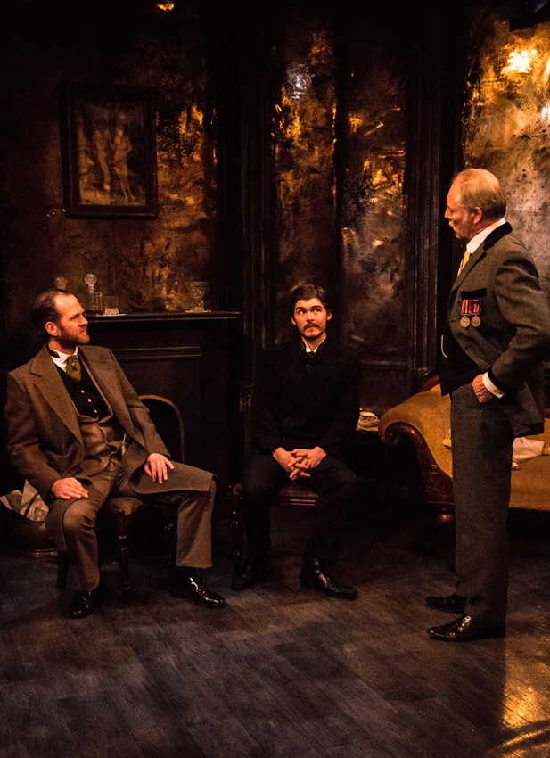Edward Wolstenholme, Alex Knox and Graham Pountney in The Passing of The Third Floor Back - Credit Solomon Lawson