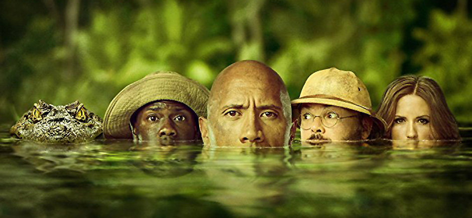 Jack Black, Kevin Hart, Dwayne Johnson and Karen Gillan in Jumanji: Welcome to the Jungle - Credit IMDB