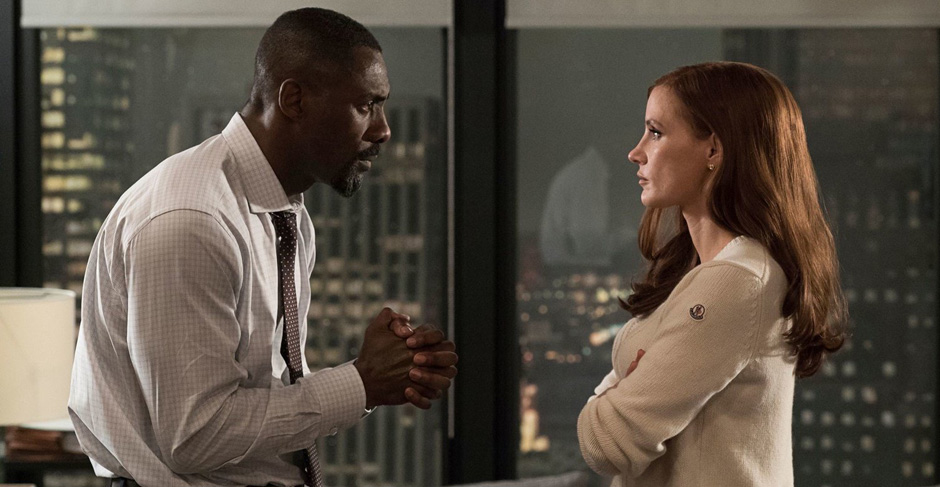 Idris Elba and Jessica Chastain in Molly's Game - Credit IMDB