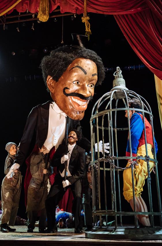 Sarah Kameela Impey, Gershwyn Eustache Jnr and Joe Idris-Roberts in Pinocchio - Credit Manuel Harlan