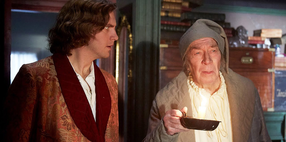 Christopher Plummer and Dan Stevens in The Man Who Invented Christmas - Credit YouTube