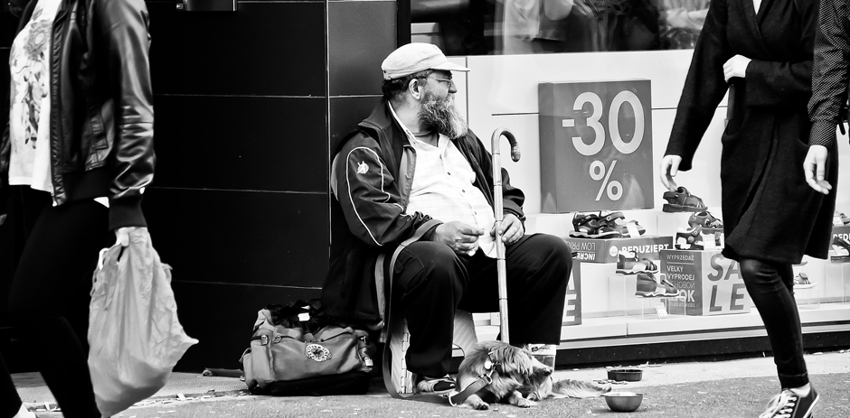 Homeless man by shop - Free for commercial use No attribution required - Credit Pixabay