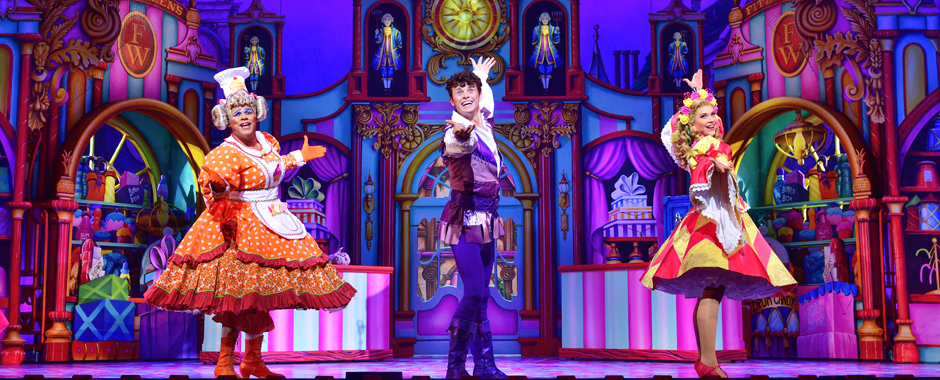 Gary Wilmot, Charlie Stemp and Emma Williams in Dick Whittington - Credit Paul Coltas