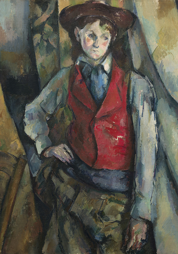 Boy in a Red Waistcoat, 1888-90 by Paul Cézanne. National Gallery of Art, Washington. Collection of Mr. and Mrs. Paul Mellon, in Honor of the 50th Anniversary of the National Gallery of Art, 1995.47.5