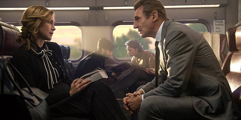 Liam Neeson and Vera Farmiga in The Commuter - Credit IMDB