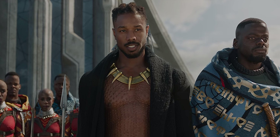 Michael B. Jordan and Daniel Kaluuya in Black Panther - Credit IMDB