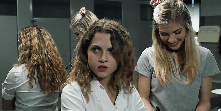 Olivia Crocicchia and Anne Winters in Mom and Dad - Credit IMDB