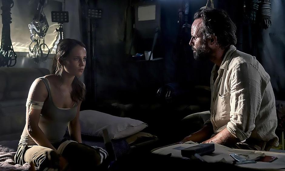 Walton Goggins and Alicia Vikander in Tomb Raider - Credit IMDB