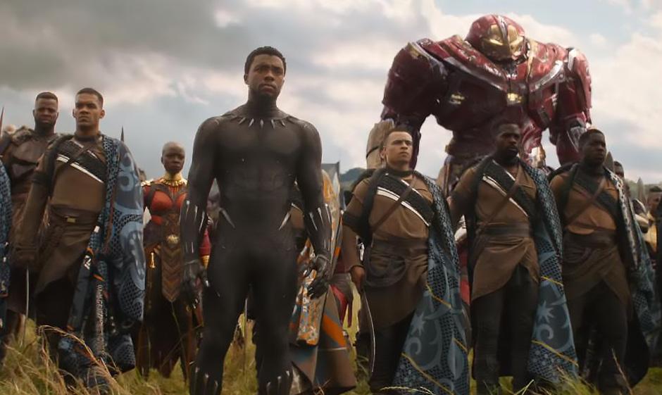 Chadwick Boseman, Danai Gurira and Winston Duke in Avengers: Infinity War - Credit IMDB