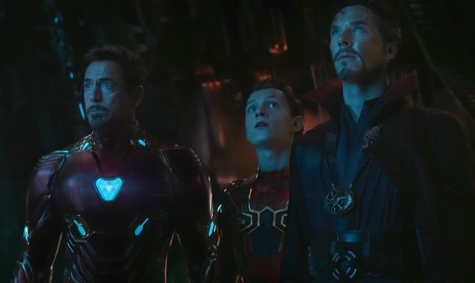 Robert Downey Jr., Benedict Cumberbatch and Tom Holland in Avengers: Infinity War - Credit IMDB