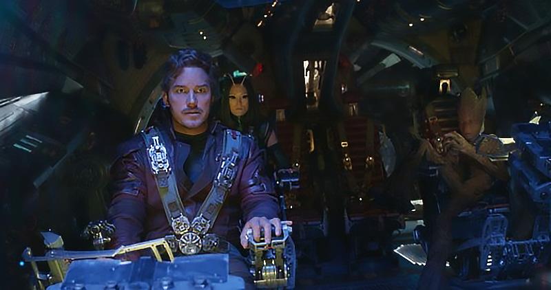 Vin Diesel, Chris Pratt and Pom Klementieff in Avengers: Infinity War - Credit IMDB