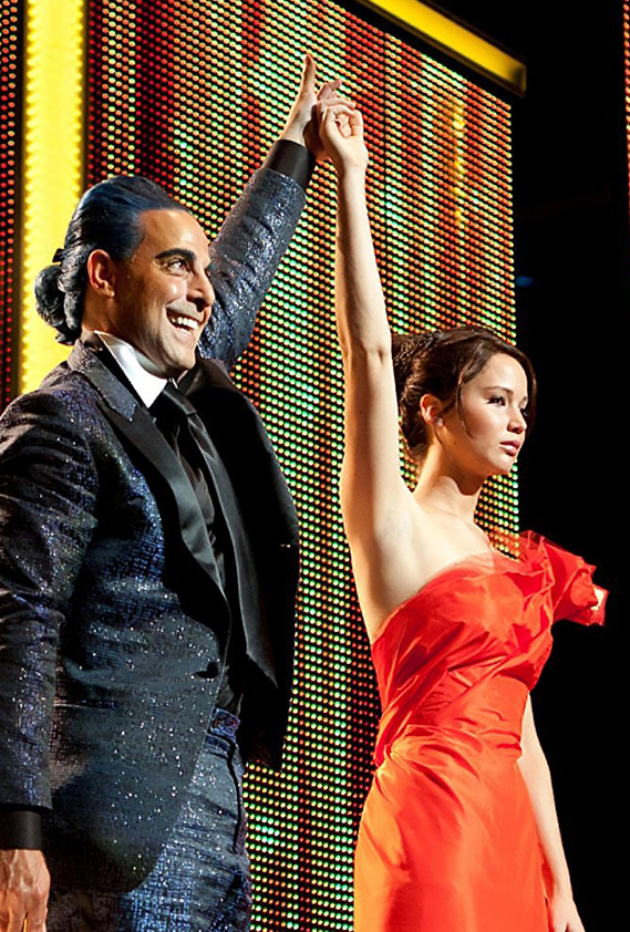 Stanley Tucci and Jennifer Lawrence in The Hunger Games - Copyright 2012 - Lionsgate - Credit IMDB
