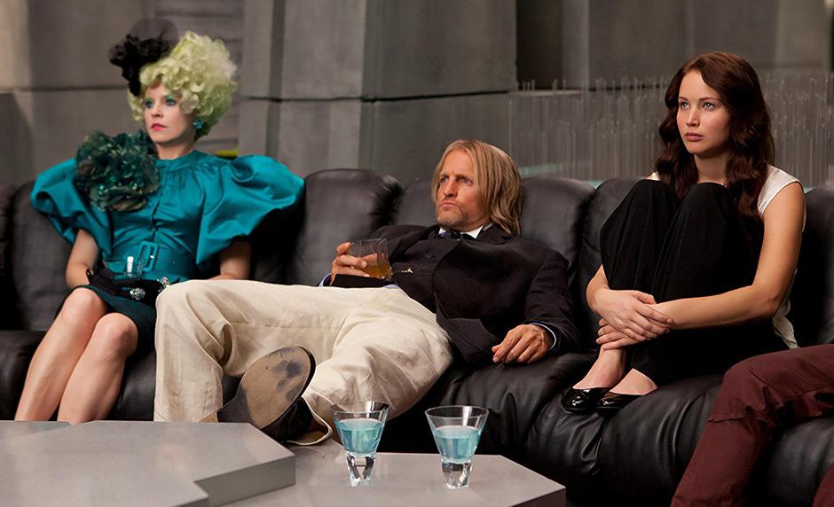 Woody Harrelson, Elizabeth Banks and Jennifer Lawrence in The Hunger Games - Copyright 2012 - Lionsgate - Credit IMDB