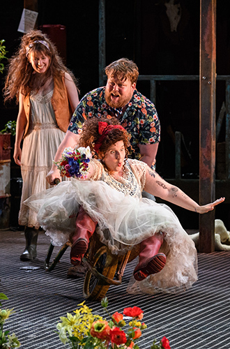 Joanne McGuinness, Danny Kirrane and Amy Booth-Steel in As You Like It - Credit Jane Hobson