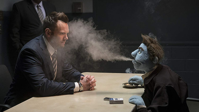 Bill Barretta and Joel McHale in The Happytime Murders - Photo by Hopper Stone - © Motion Picture Artwork2017 STX Financing, LLC. All Rights Reserved - Credit IMDB