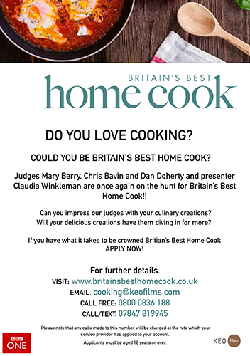 BBC One's Britain's Best Home Cook flyer