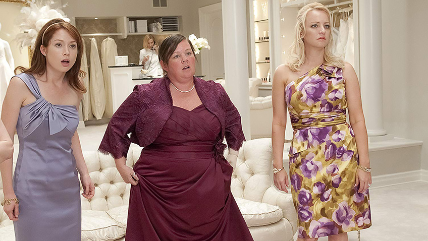 Melissa McCarthy, Wendi McLendon-Covey and Ellie Kemper in Bridesmaids - Photo by Suzanne Hanover - © 2011 Universal Studios. ALL RIGHTS RESERVED. - Credit IMDB