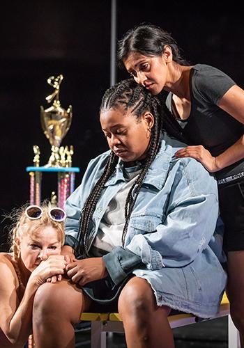 Sarah Hadland, Kayla Meikle and Manjinder Virk in Dance Nation - Credit Marc Brenner