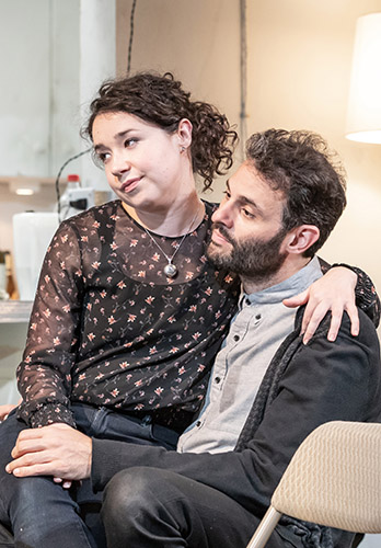 Sarah Steele and Arian Moayed in The Humans - Credit Marc Brenner