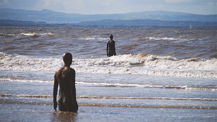 Antony Gormley - Another Place statues - Liverpool - Credit Andrew Silk