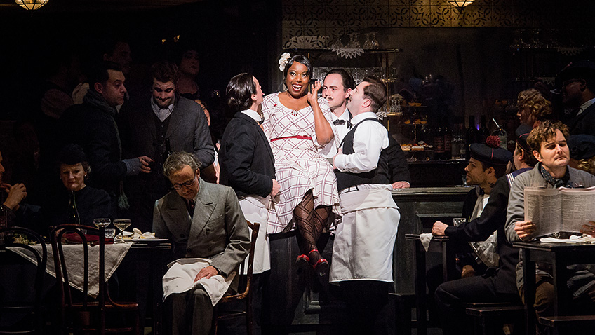 Nadine Benjamin and cast in La Bohème - Credit Robert Workman