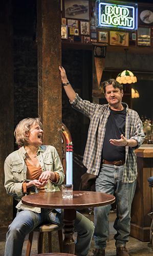 Stuart McQuarrie and Martha Plimpton in Sweat - Credit Johan Persson
