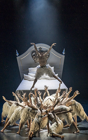 Will Bozier and ensemble in Swan Lake - Credit Johan Persson