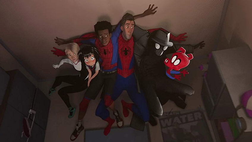 Nicolas Cage, John Mulaney, Jake Johnson, Hailee Steinfeld, Shameik Moore and Kimiko Glenn in Spider-Man: Into the Spider-Verse - Credit IMDB