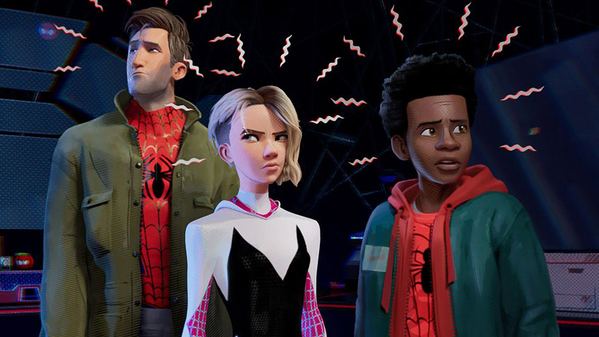 Jake Johnson, Hailee Steinfeld and Shameik Moore in Spider-Man: Into the Spider-Verse - Credit IMDB