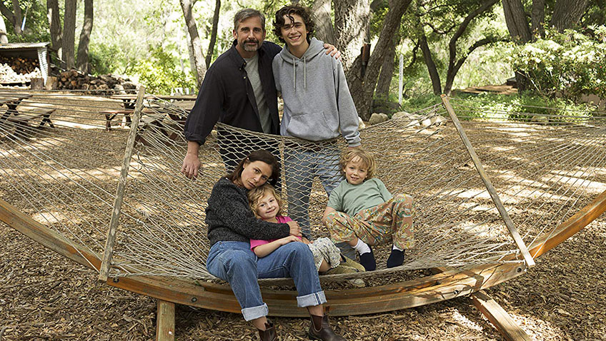 Maura Tierney, Steve Carell, Timothée Chalamet, Oakley Bull and Christian Convery in Beautiful Boy - Credit IMDB