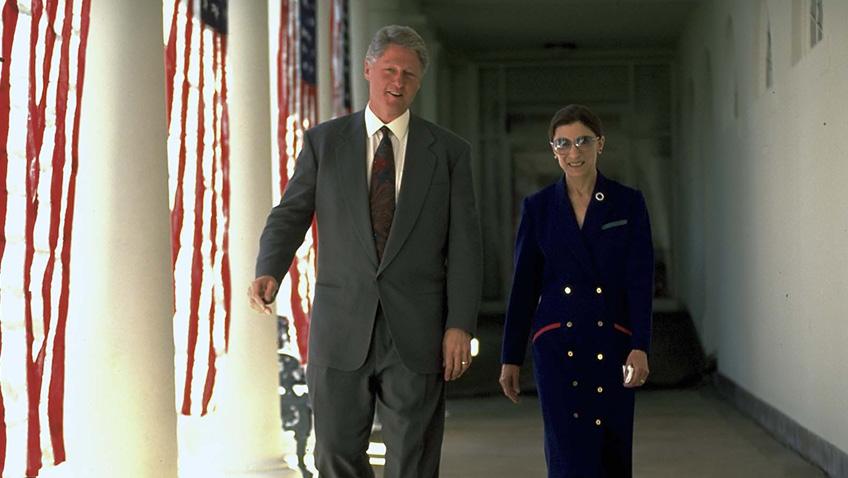 Bill Clinton and Ruth Bader Ginsburg in RBG - Credit IMDB