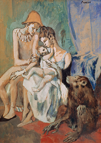 The Acrobat Family, 1905 (gouache on paper) by Pablo Picasso - Copyright DACS