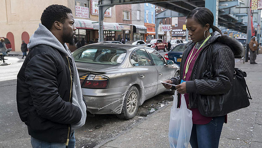 Kevin Hart and Aja Naomi King in The Upside - Photo by David Lee - Credit IMDB