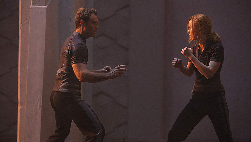 Jude Law and Brie Larson in Captain Marvel - Credit IMDB