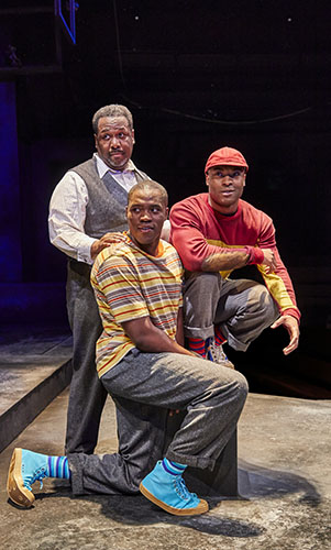 Wendell Pierce, Arinzé Kene and Martins Imhangbe in Death of a Salesman - Credit Brinkhoff Mogenburg