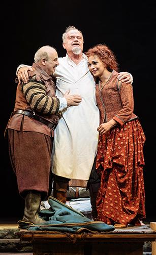 Danielle de Niese, Peter Polycarpou and Kelsey Grammer in Man of La Mancha - Credit Manuel Harlan