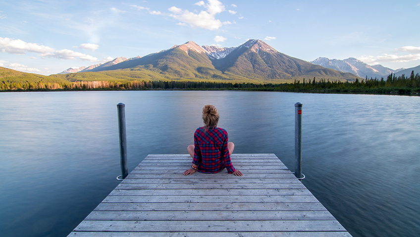 Woman on Jetty - Mountain - Lake - Free for commercial use No attribution required - Credit Pixabay