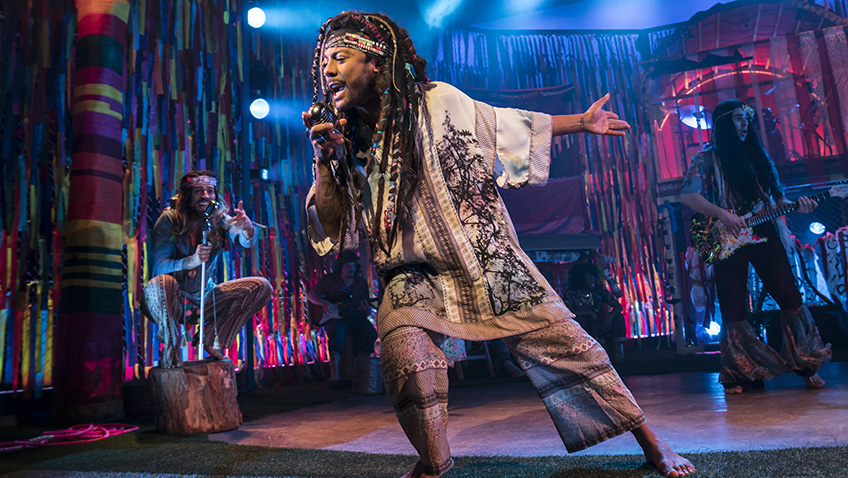 Bradley Judge, Marcus Collins and Jake Quickenden in Hair - Credit Johan Persson
