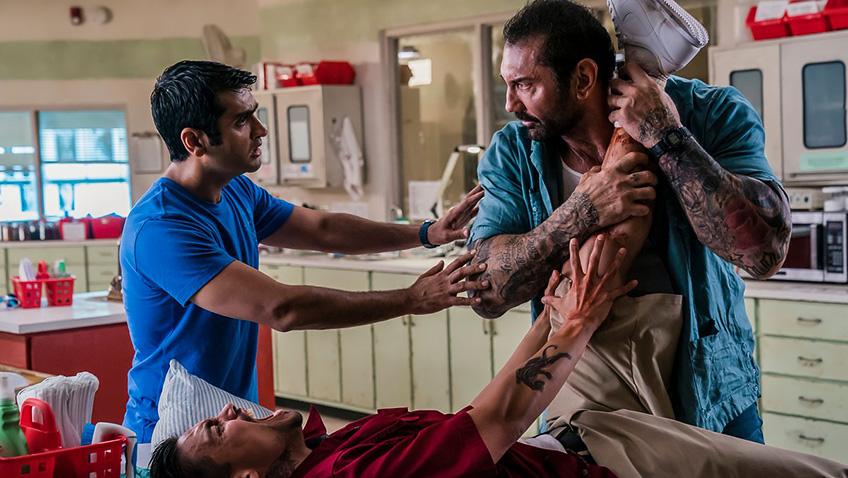Dave Bautista, Rene Moran and Kumail Nanjiani in Stuber - Credit IMDB