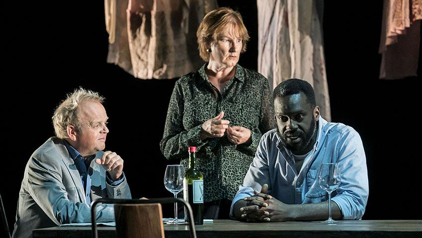 Toby Jones, Deborah Findlay and Sule Rimi in Bluebeard's Friends - Credit Johan Persson