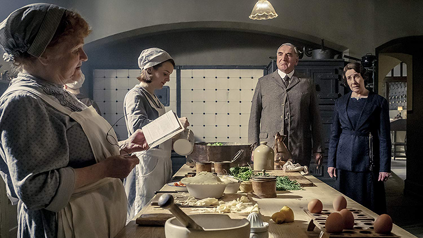 Jim Carter, Phyllis Logan, Lesley Nicol and Sophie McShera in Downton Abbey - Copyright 2019 Focus Features - Credit IMDB