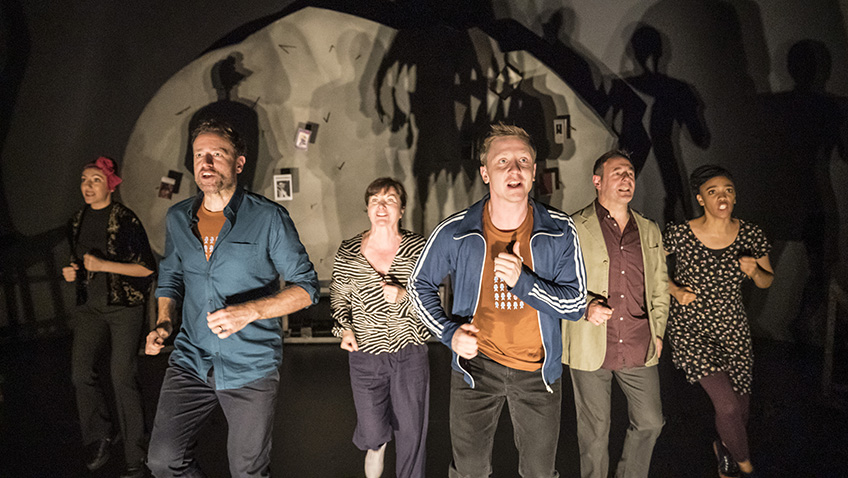 Phil Cheadle, Chris Donnelly, Janet Etuk, Mike Noble, Dilek Rose and Connie Walker in Reasons to Stay Alive - Credit Johan Persson