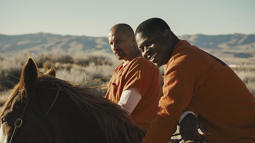 Matthias Schoenaerts and Jason Mitchell in The Mustang - Credit IMDB