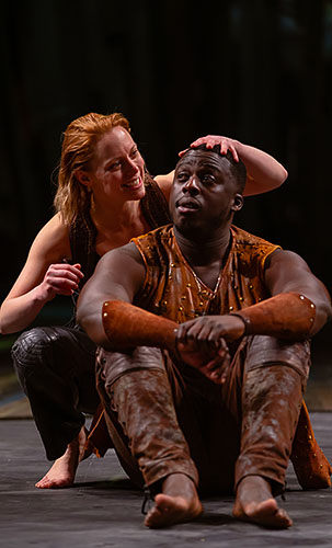 Lucy Phelps and David Ajao in As You Like It - Credit Topher McGrillis