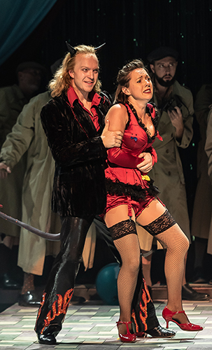 Alex Otterburn and Mary Bevan in ENO's Orpheus in the Underworld - Credit Clive Barda