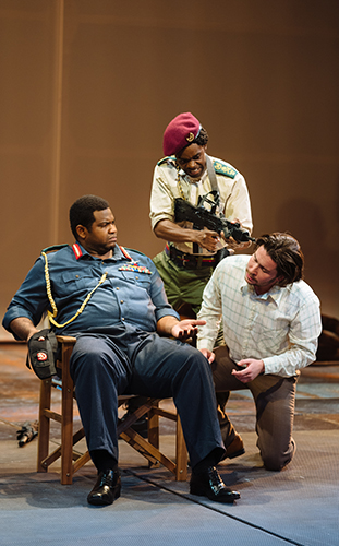 Tobi Bamtefa, Rich Kinsiona and Daniel Portman in The Last King of Scotland - Credit Helen Murray