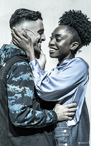 Anita-Joy Uwajeh and Eben Figueiredo in Cyrano de Bergerac - Credit Marc Brenner