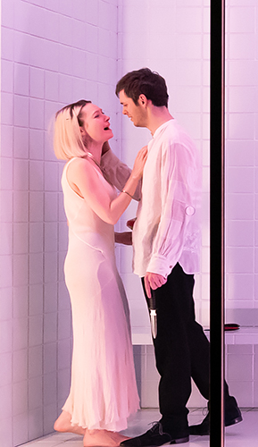 Lydia Wilson and Jack Riddiford in The Duchess of Malfi - Credit Marc Brenner