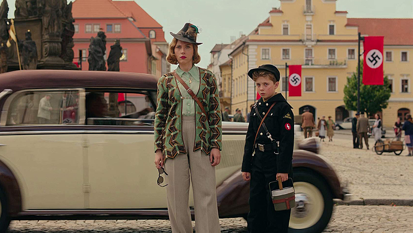 Scarlett Johansson and Roman Griffin Davis in Jojo Rabbit - Credit IMDB
